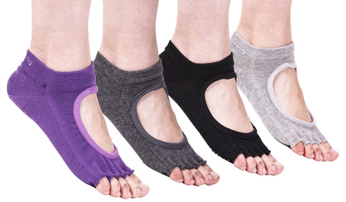 SUNJAZZ Y78 Non Slip Gym Toeless Yoga Socks with Grips for Women